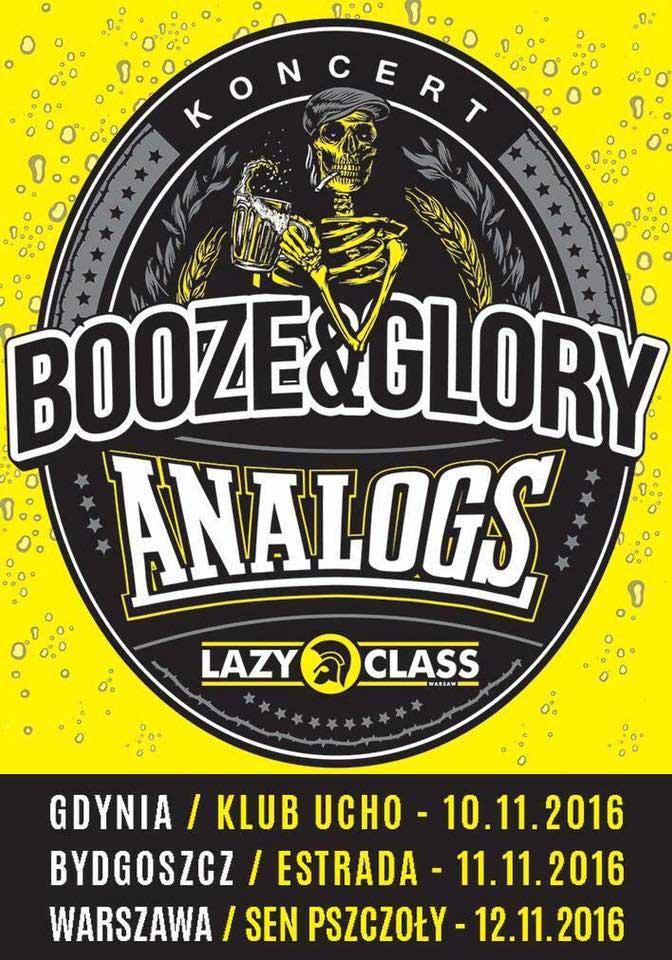 Koncerty Analogs oraz Booze`n`Glory 2016 -plakat